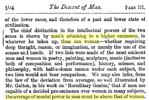 Charles Darwin on the Inferiority of Women