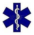 Biblical medical symbol of a serpent and a staff
