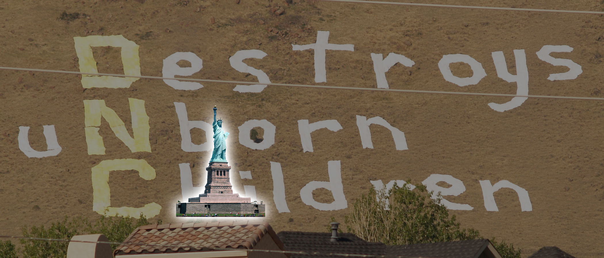 Size of world's largest protest sign by ARTL compared to the Statue of Liberty